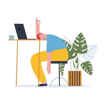 男がテーブルに伏せて寝転がるストレス下でマネージャーの勉強にうんざりしている学生