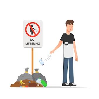 Мужчина мусорит и не заботится об окружающей среде