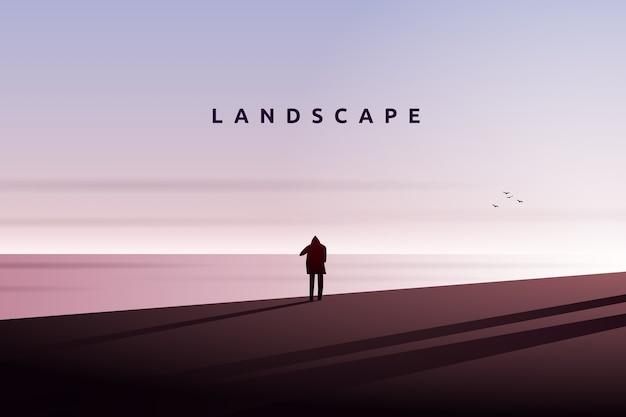 Мужчина смотрит на море и звездный ночной пейзаж