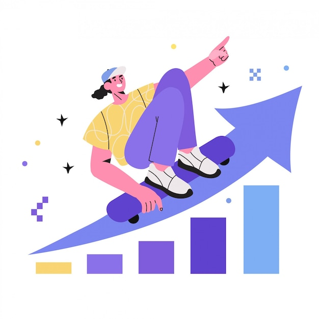 成長している統計の矢印に乗っているスケートボードの男。