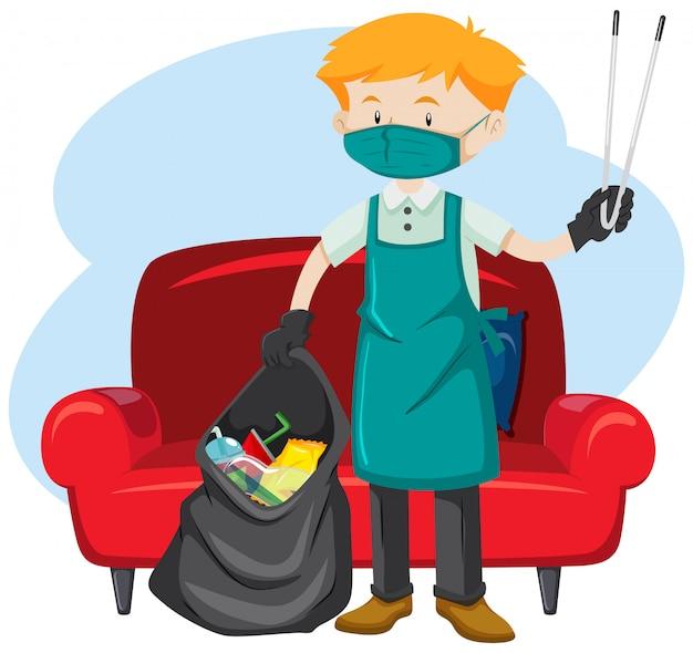 Человек, собирающий мусор