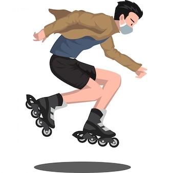 의료 마스크를 사용하는 동안 자유형 롤러 스케이트를 타는 사람