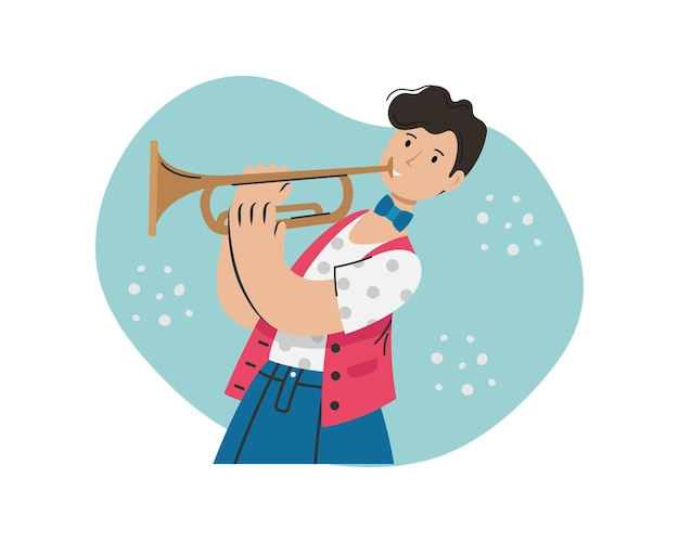 Мужчина играет на трубе мелодию. творческая профессия. Premium векторы