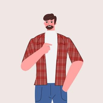 キャラクターポーズを指す男性
