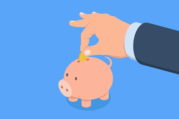 男は貯金箱に貯金を入れます貯蓄と投資