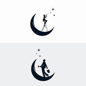 Человек достигают звезды дизайн логотипа