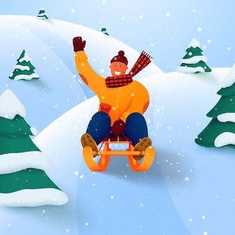 Мужчина катается зимой на санях с горы среди деревьев по снегу.