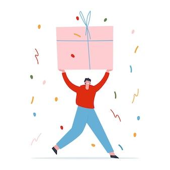 男は彼の手に大きな贈り物を持って前に走ります背景に紙吹雪フラットベクトル