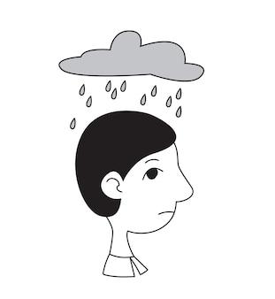 雲と雨が彼の上にある横顔の男の頭概念心理的問題うつ病