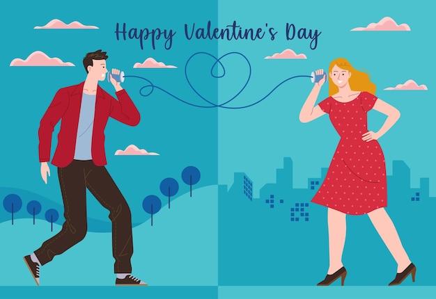 男性が別の都市の糸電話を使って女性のパートナーに愛のメッセージを送る