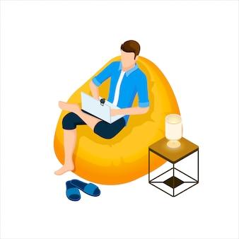 男はラップトップとwebカメラとバッグの椅子に座っています。アイソメ図スタイルのイラスト。