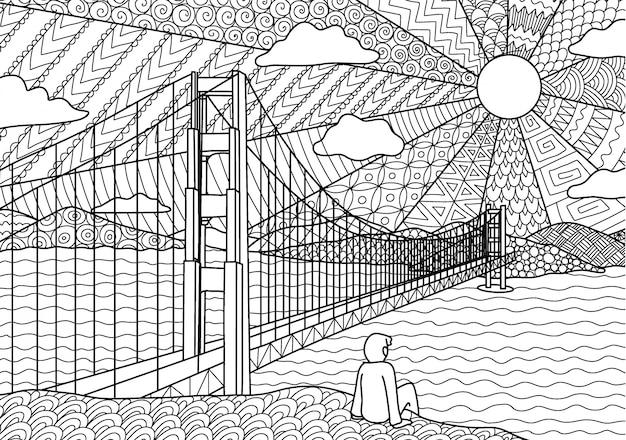Человек, сидящий на мосту золотых ворот