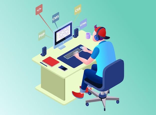 Мужчина сидит за стойкой, работает над программированием веб-сайтов