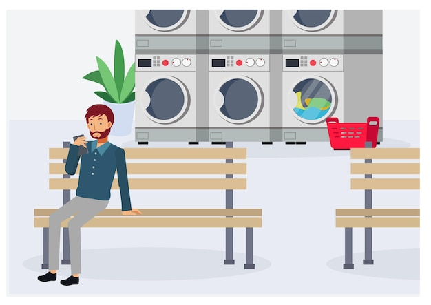 벤치에 앉아서 동전 세탁소에서 옷을 기다리는 동안 스마트폰을 사용하는 남자. 플랫 벡터 만화 캐릭터 그림