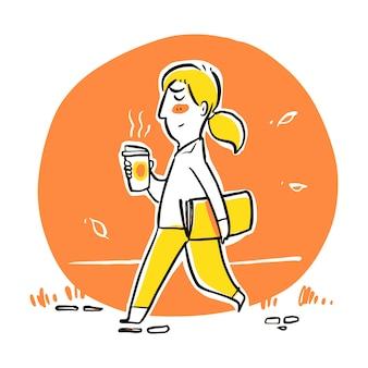 朝のコーヒーカップを持って歩く男。