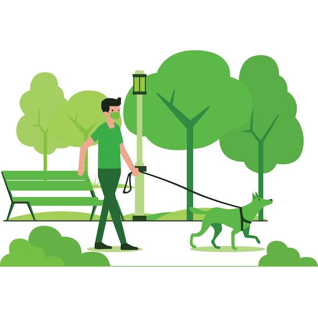 公共の公園のイラストで犬を散歩する男