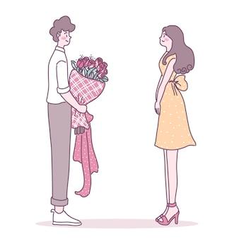 愛する女性に花を贈る男 無料ベクター