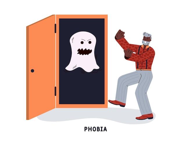 어두운 옷장에서 사악한 귀신을 두려워하는 남자. 공포증, 불안 또는 공황 발작. 벡터 평면 그림 흰색 배경에 고립입니다.