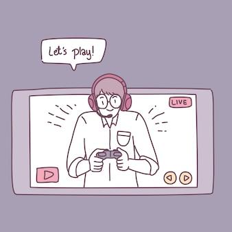 スマートフォンでゲームをする男性。