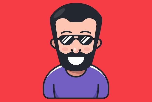 あごひげを生やしてサングラスをかけた男。フラット文字ベクトルイラスト。