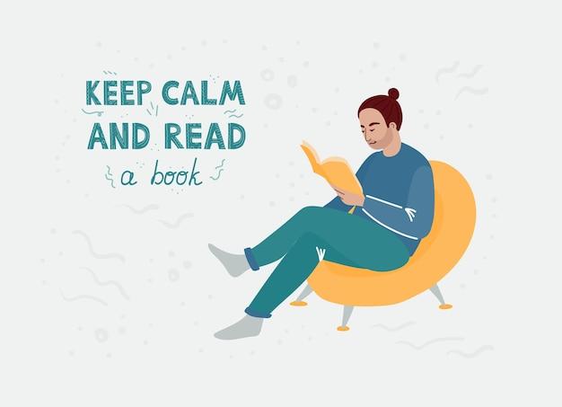 노란색 의자에 앉아 책을 읽고 파란색 옷을 입은 갈색 머리를 가진 남자. 만화 평면 그림입니다.