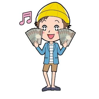 Мужчина жестом пачку банкнот.