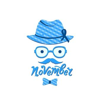 帽子と青いリボンに口ひげを生やした男。 11月の手描きのレタリング。前立腺がん啓発月間。