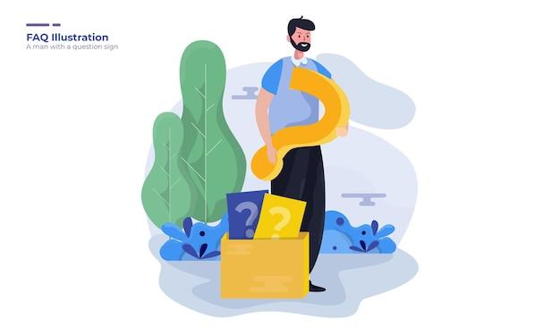 Мужчина со знаком вопроса для иллюстрации страницы часто задаваемых вопросов