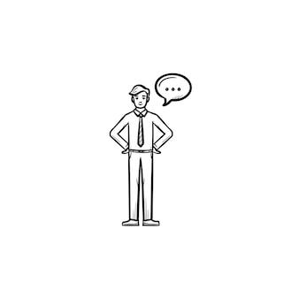 スピーチの正方形の手描きのアウトライン落書きベクトルアイコンを持つ男。白い背景で隔離の印刷物、ウェブ、モバイル、インフォグラフィックのスピーチバブルスケッチイラスト。