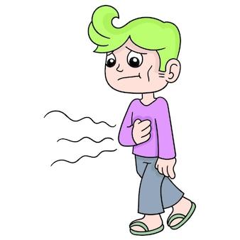 薄い顔の男が空腹でうなる胃を持って歩いた、ベクトルイラストアート。落書きアイコン画像カワイイ。
