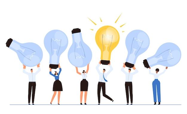 Человек с идеей внутри и вокруг людей без них. идеи бизнес-концепции в коллективе. мультяшная квартира. мультяшная квартира. отдельный на белом фоне.