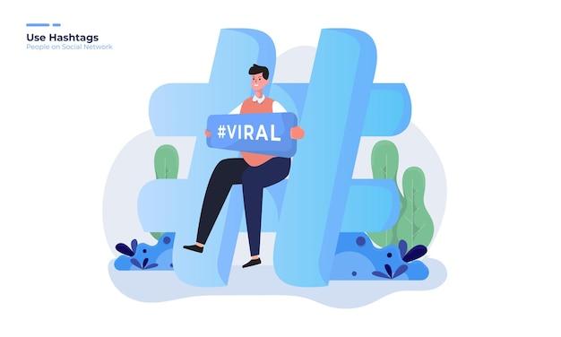 ソーシャルネットワークの概念のハッシュタグウイルスイラストを持つ男