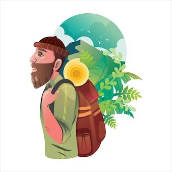Мужчина с рюкзаком отправляется на приключение в дикую природу, джунгли, горы, холмы.
