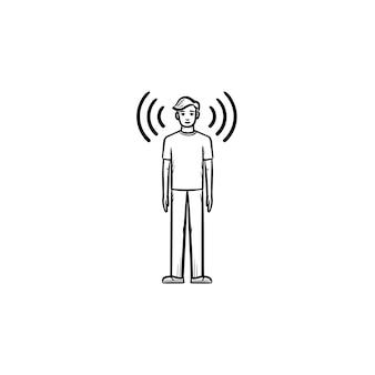 손으로 그린 윤곽선 낙서 아이콘 주위에 음파가 있는 남자. 흰색 배경에 고립 된 인쇄, 웹, 모바일 및 infographics에 대 한 전파 및 팟캐스트 개념 벡터 스케치 그림.