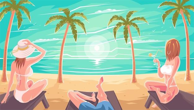 海や海のビーチのサンラウンジャーに座って水着姿の女性がライトアップ。