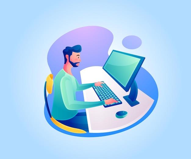 Мужчина работает за рабочим столом или работает дома