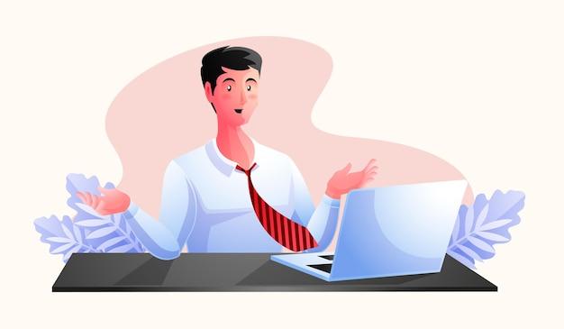 Человек, работающий за рабочим столом с ноутбуком