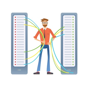 コンピューターサーバーまたはレンダリングファームで作業する男性。データセンターの技術スペシャリスト。白のイラスト。