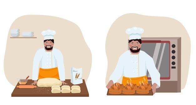 한 남자가 빵집에서 일하고, 주방복을 입은 캐릭터가 빵을 굽는다. 수제 케이크. 벡터