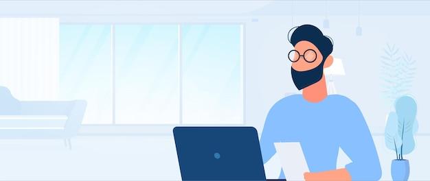 男はラップトップで働いています。男はラップトップを持ってテーブルに座っています。フラットスタイル。イメージワーク、オフィス、採用スタッフに最適です。ベクトルイラスト