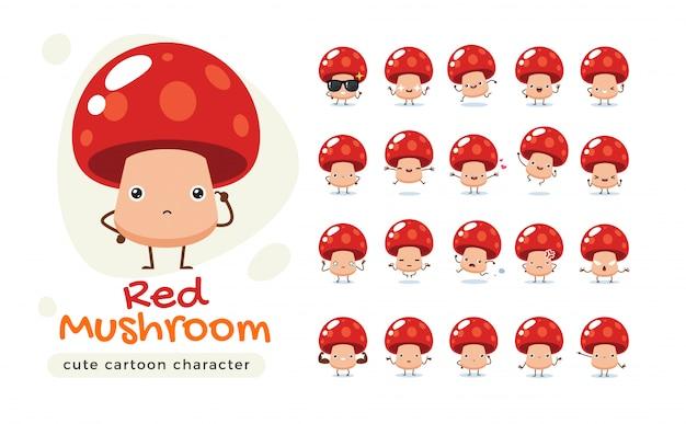 빨간 버섯의 마스코트입니다. 고립 된 그림