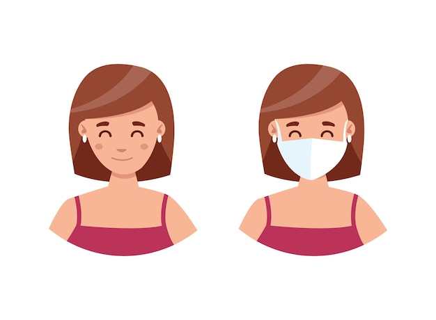 Маска обязательна. женщина в медицинской маске и без нее