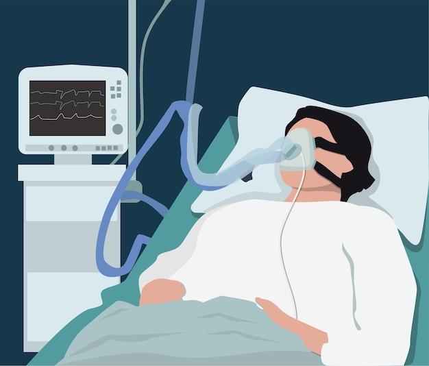 인공 폐 환기용 의료 기기. 호흡 기구를 착용한 환자.