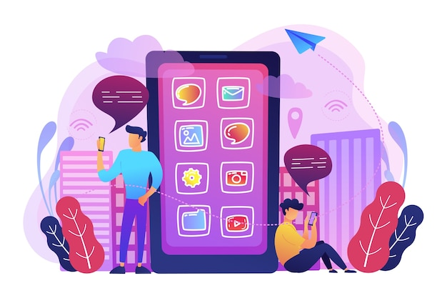 ソーシャルメディアやニュースフィードのイラストをチェックする画面上のアプリケーションアイコンと巨大なスマートフォンの近くの男性