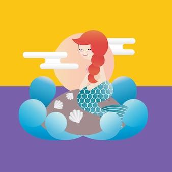 푸른 파도가 그녀를 둘러싸고 뒤쪽에 흰 구름이 있는 작은 돌 위에 앉아 있는 인어