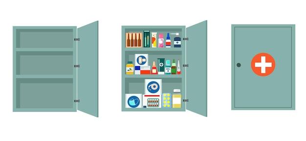 약으로 가득 찬 선반이 있는 금속 약국 캐비닛. 잠그고 열린 의료 사물함.