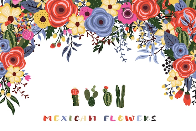 サボテンとメキシコのフィエスタの花