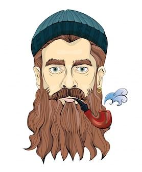 Бородатый мужчина средних лет курит трубку. моряк или рыбак в вязаной шапке. портретная иллюстрация, на белом.