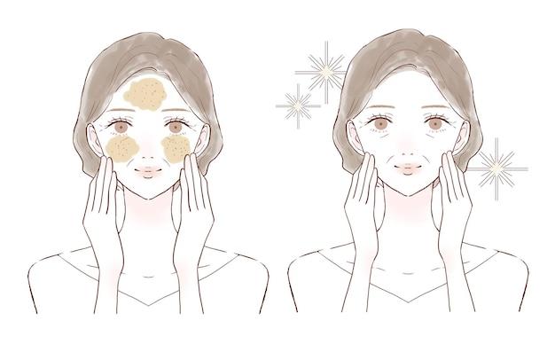 毛穴をスクラブでケアする中年女性の前後。白い背景に。