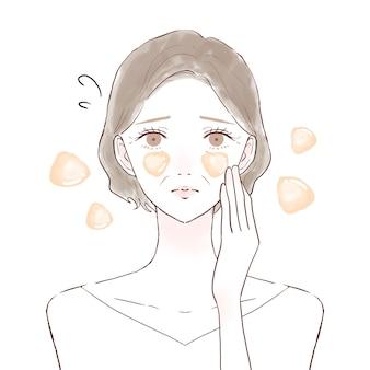 脂性肌に悩む中年女性。白い背景に。